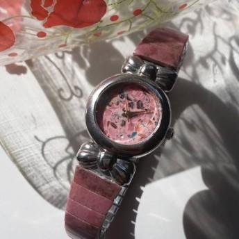 天然石 虹色貝 リポン ロードナイト 伸縮式 のバンド 腕時計