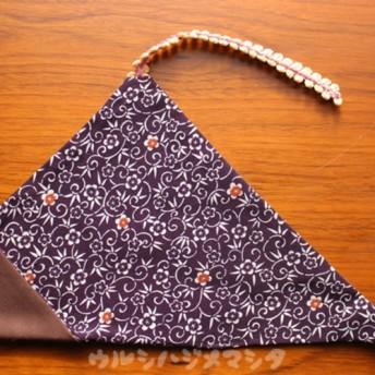 ★再販★リバーシブル箸袋(茶×着物唐草)/ REVERSIBLE CHOPSTICKS BAG(Kimono)