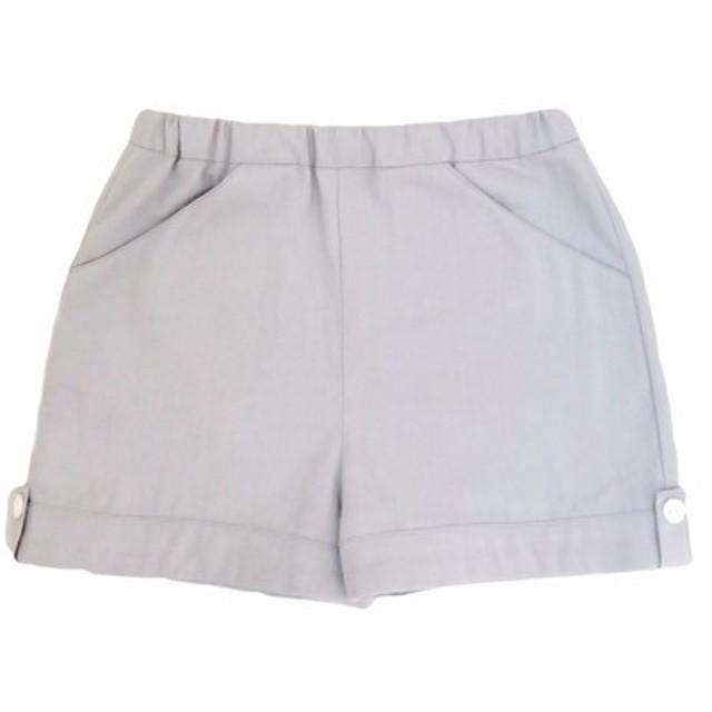 少女無地ライトグレーのパンツ - 日本の綿印刷物 - 手作り限定版の子供服