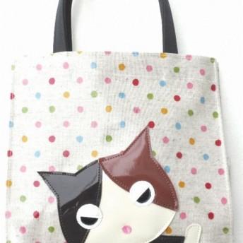 不機嫌ニャンコ 三毛猫 トートバッグ 小さめ レディース 手提げバッグ 小物 猫柄 猫雑貨 猫グッズ 好き プレゼント