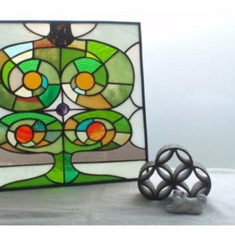 ステンドグラスパネル 葉