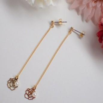 【大人気♪】揺れるバラのゴールドピアス #バラ#チェーン#ピアス#ゴールド#揺れる#春