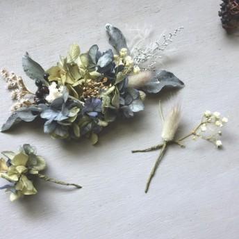 // くすみブルー×グリーンのアンティークあじさいのボタニカルヘッドドレス // おしゃれ結婚式のウェディング髪飾り
