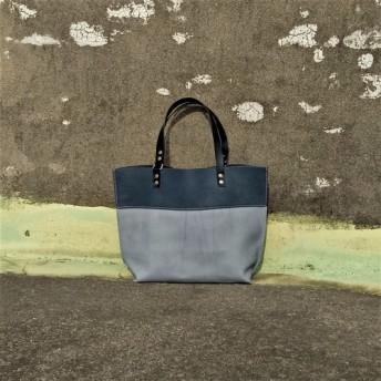 ブルー双ピントートバッグ(フル/フルレザーを縫います)