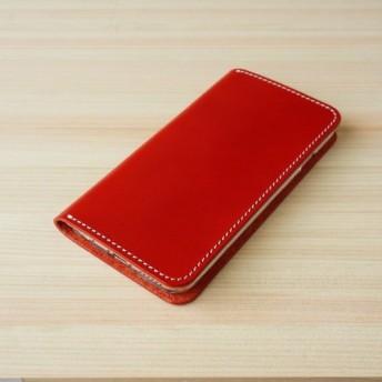 牛革 iPhone6/6sカバー ヌメ革 レザーケース 手帳型 レッドカラー