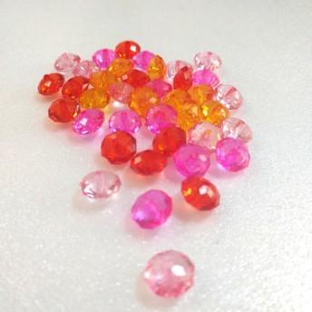 ◆そろばん アクリルビーズ Sサイズ ピンク系ミックス きらきら 40個 春