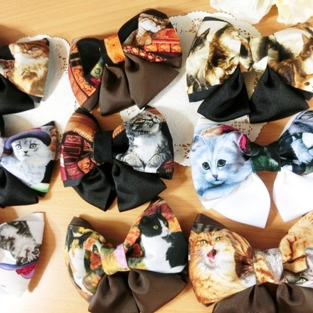 9種・猫ちゃん柄リボンヘアクリップ・はんぱ布雑貨