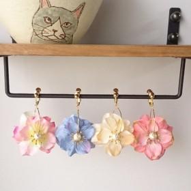 夏色お花のフープイヤリング