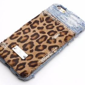 iPhoneX, XS, SE,5,6,7,8/ヒョウ柄デニムiPhoneケース16008(Lynx)