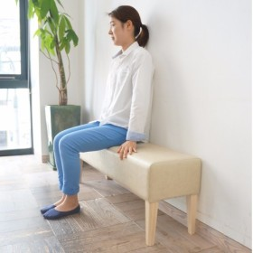 2 seater bench D300 ( NA×合成皮革アイボリー Bランク ) H420