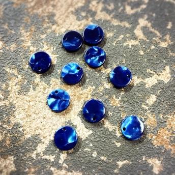 シェル風小さなプラスチックパーツ 穴あけ加工済 サークル型 10個 ブルー