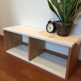 natural *cafe low shelf W80 白棚《受注制作》 ローシェルフ