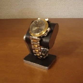 だ円腕時計スタンド ベルトブラック台座接触バージョン 台座上コルク(黒)あり