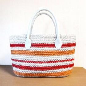 赤とオレンジのストライプ 麻ひものバッグ