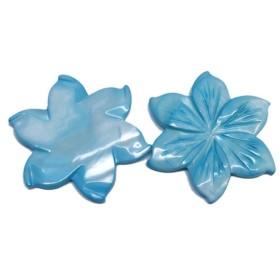 シェルビーズ フラワーモチーフ 穴無し 花型 ブルー 2個入【AFP】 shell-75bl