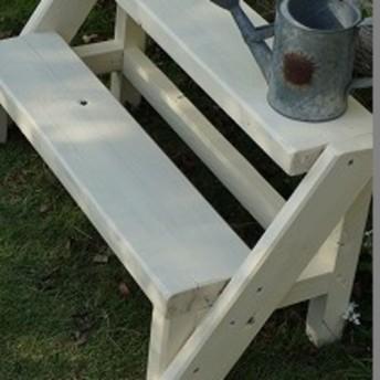 ハンドメイド家具 花台 長ベンチ 子供椅子 プランター台 ステップスツール ホワイト