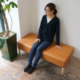 2 seater bench D517 ( NA × 合成皮革キャメル Bランク )