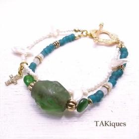 TAKiques アンティークガラスビーズ&ジェムストーン2連ブレスレット de-74-tq-030