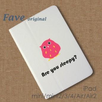 フクロウ ~ ロゴ iPad オリジナル レザーケース ペット Air mini Pro 手帳型 カバー タブレット