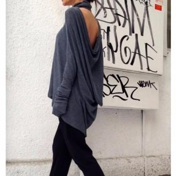 背中見せ ルーズ ハイネック 長袖 トップス グレー・ブラック【Aakasha/サイズのカスタムオーダーメイド可】