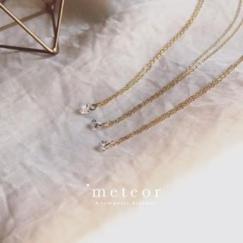 METEOR JEWELRYシルバー925 18Kゴールドは、裸のダイヤモンド鎖骨チェーンシリーズ(円形)をメッキ