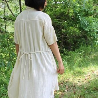 hand made in NEPAL 織りワイドシャツワンピース バンブー生成り