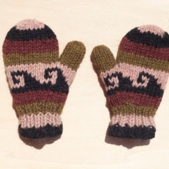 アースカラーのストライプの波 - 子供/子供の手袋のためのニットピュアウール暖かい手袋/手袋を限ら/手袋/ニット手袋/ミトン毛