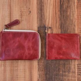 d4002a7ce3b8 姫路産 馬革 L型コインケース 財布 手もみ シュリンク加工 ワインレッド ギフト