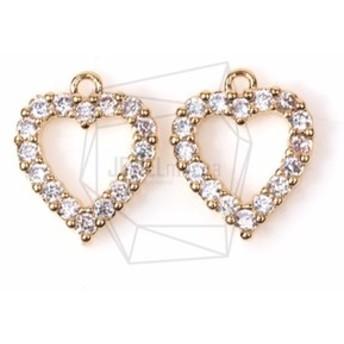 PDT-1223-G【2個入り】CZハートペンダント,Cubic Zirconia Setting heart pend
