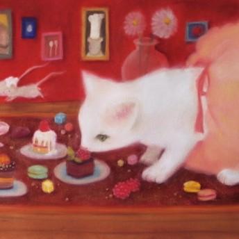 「かわいいレディ」三三サイズ、パステル画、原画、額装込み