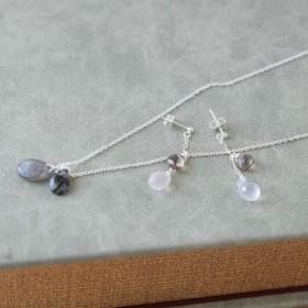 シルバーと天然石のネックレス&ピアス