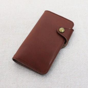 【全機種対応】栃木レザー:ブラウン(ベルトタイプ) 高級本革を国内で縫製しています! 手帳型スマホケース