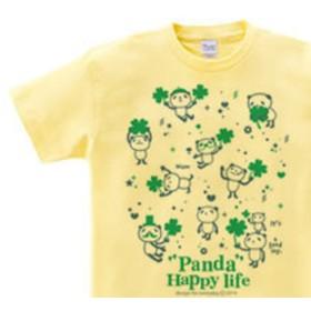 パンダとクローバー 【片面】150.160(女性M.L) Tシャツ【受注生産品】