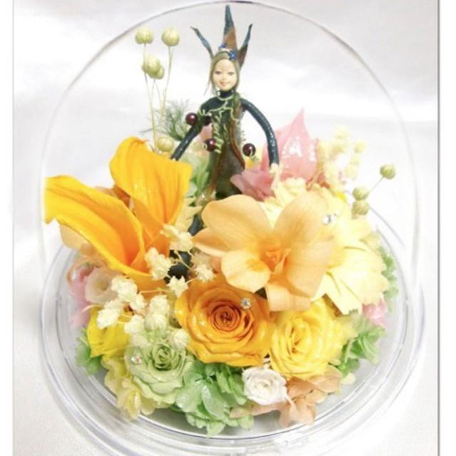 【プリザーブドフラワーオルゴールアレンジ】お花の妖と星に願いをのメロディーと一緒に