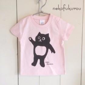ネコフクロウ(110サイズのみ) こどもTシャツ ベビーピンク