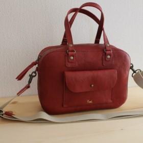 【新作】栃木レザー 手縫い box bag(ワイン)