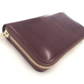 ラウンドジップ長財布 ーmelissaー 蜜蝋革 ピット製法ヌメ革 チョコ 財布 レザー