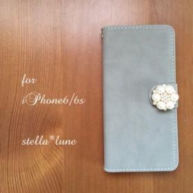 【iPhone】スエードシンプル手帳型ケース*グレー