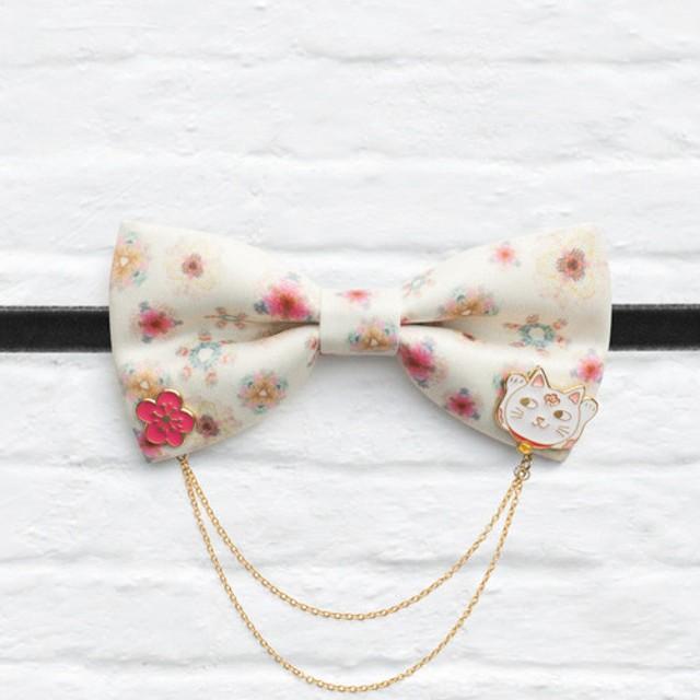 スタイル0160キャプチャ桜の桜の猫の猫プリント蝶ネクタイ襟ピンが接続されています
