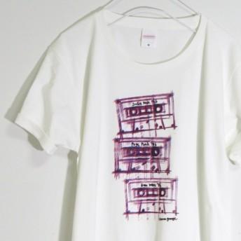 アートなカセットテープTシャツ 【バニラホワイト】 ユニセックス 半袖クルーネックTシャツ