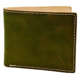 二つ折財布 カービングクラフト レザーウォレット KHAKI 10005500