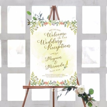 ウェルカムボード ハーブ水彩画2 名入れ 結婚式 二次会 ポスター印刷 パネル加工OK bord0022