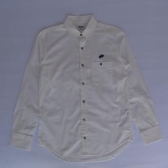 長袖シャツ(レコードワッペン) ホワイト Lサイズ WATERFALLオリジナル メンズ 定番商品 綿ブロード素材