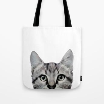 猫、両面ぷりんとトートバッグ、アメリカンショートヘアーオリジナルイラスト