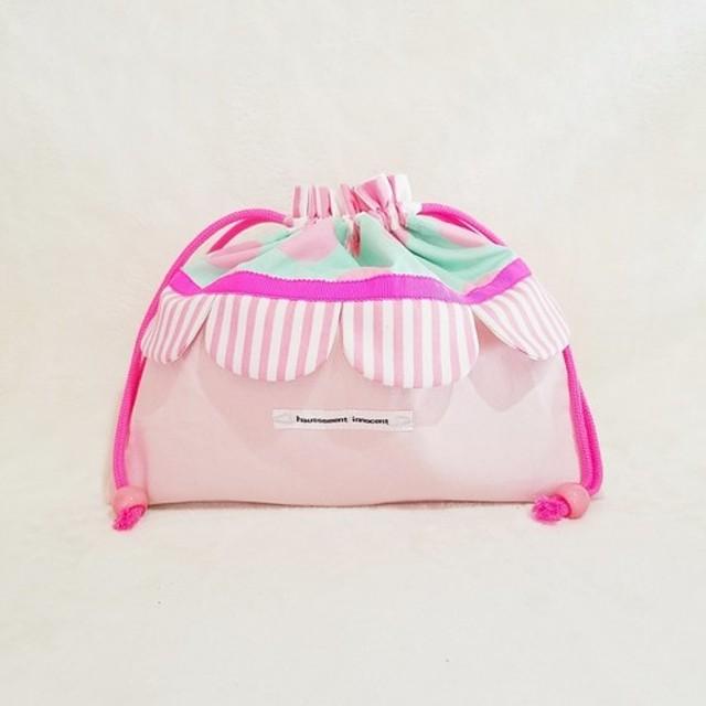 ピンクとスカラップの巾着・大【受注制作】
