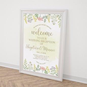 ウェルカムボード ハーブ イエロー水彩画 結婚式 二次会 ポスター印刷 パネル加工OK bord0019