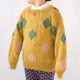 ダイヤ柄のセーター(刺繍入り)