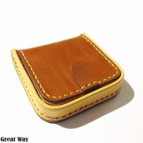 手作り革製品 - 正方形の財布