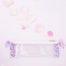 パステルリボンのクリアペンケース 水色×ピンク