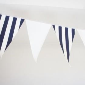 布ガーランド 290cm フラッグ 旗 結婚式 パーティー キャンプ 店舗装飾 飾り 紺ストライプ